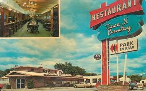Sioux Falls South Dakota~Town N Country Restaurant~Inside Out~1966 Cars~Postcard