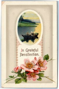 In Grateful Recollection - family in boat, flowers greetings postcard