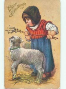 Divided-Back CHILDREN AT EASTER SCENE Great Postcard AA1781