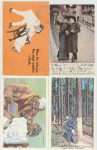 Lot of 4 people postcards romance industry maple dad man woman