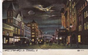 Ohio Columbus WEst High Street At Night 1918