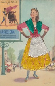 BARCELONA, Spain, 1930-40s; Woman in embroidered dress, Bull fight advertisement