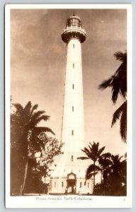 New Caledonia Island~Amédée Lighthouse Close Up~Tourists at Door~1940s RPPC