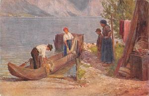 B23654 Wien austria Josef Straka Fischers Heimkehr fishing postcard painting