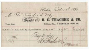 1873 Billhead, H. C. THACHER & CO., Dealer in Cotton, Boston, Massachusetts