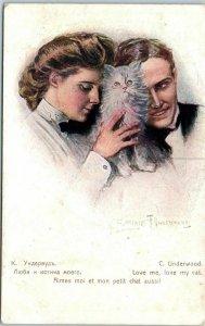 1910s Artist-Signed C.F. UNDERWOOD Postcard Love Me, Love My CAT 4 Languages