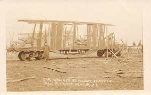 LP80 Pleasant Prairie Wisconsin Postcard RPPC Powder Explosion Wrecked Car
