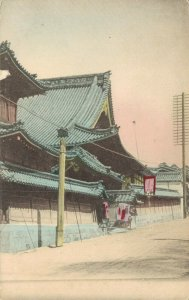Japan Japanese Temple Hand Colored Postcard 03.90