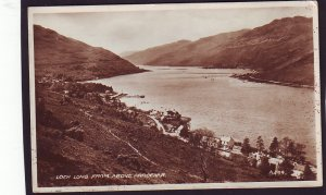 P1453 old used RPPC loch long from above village arrochar scotland england