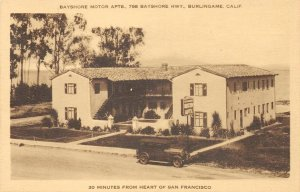 Bayshore Motor Apts., Burlingame, CA Bayshore Hwy Roadside 1935 Vintage Postcard