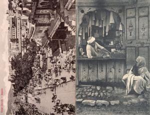Great Chowk Market & Indian Trader Stall 2x Antique Postcard s