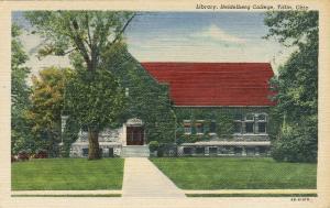 Tiffin Ohio Heidelberg College Library Linen Postcard