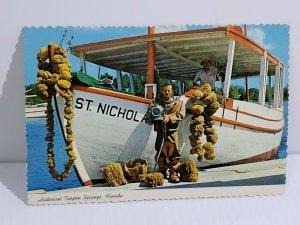 Sponge Diver Tarpon Springs Florida Ship Boat Vintage Postcard unposted   475