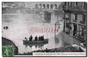 Old Postcard Floods of January 1910 Paris Gare St Lazare Court of Rome