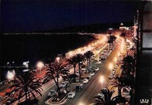 France Cote d'Azur, Nice la Nuit, La Promenade des Anglais Voitures Cars 1982