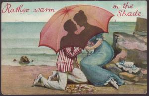 Rather Warm in the Shade,Couple Under Umbrella Postcard