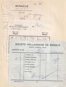 Society Hollandaise De Banque Belgium Paris Bank 1940s 3x Old Receipt s