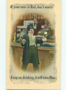 Bamforth Comic DRUNK MAN AT THE BAR AB9761