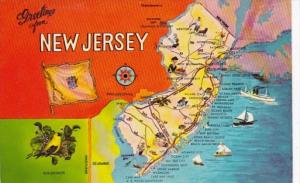 Greetings From New Jersey With Map