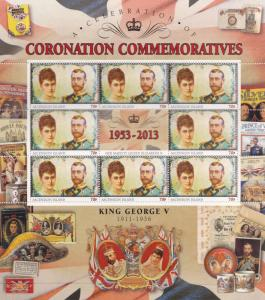 King George V Ascension Island Royal Coronation Rare Mint Stamp Block Sheet