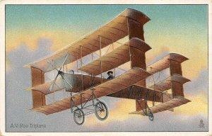 LP73  Aviation  Airplane  Vintage Postcard Tuck A. V. Roe Triplane