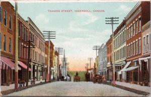 Thames Street Ingersoll Ontario ON Oxford County Unused Postcard E33