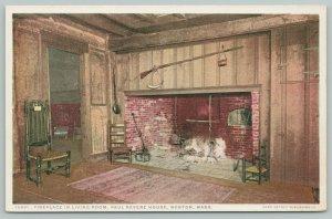 Boston MA~Paul Revere House~Living Room Fireplace~Detroit Publishing Co~1920s PC