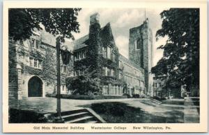New Wilmington PA Postcard WESTMINSTER COLLEGE Old Main Building Albertype 1930s