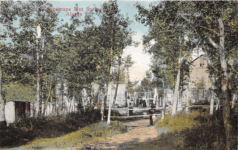 Kuzgamapa Hot Springs Alaska~Man by Wooden Fence~c1910 Postcard