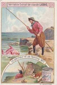 Liebig Vintage Trade Card S834 The Fisherman & His Wife Card No 1 Le Pecheur ...
