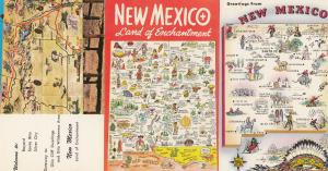 New Mexico Land Of Enchantment 3x Map Postcard s