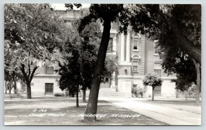 Holdrege Nebraska~Courthouse Entrance Seen through Trees~1940s RPPC