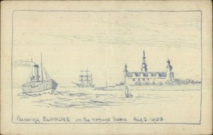 Handmade Art Boat Passing Elsinore 1908 Postcard