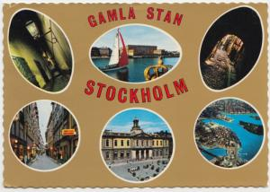 GAMLA STAN, STOCKHOLM, multi view, used Postcard