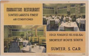 SUMTER SC - MANHATTAN RESTAURANT 1940s view / 119 N Main St