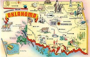 Greetings from Oklahoma OK Map Chrome Postcard