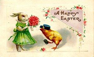 Greeting - Easter.  (dressed bunny & chick)