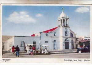 P1934 vintage postcard people vrnders church tijuana baja calif, mexco used