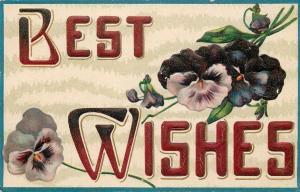 Large Letter Best Wishes~Deep Purple Lavendar Pansies~Emboss~Germany 1908 PC