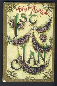 Beautiful Embossed New Year's Postcard, 1st January