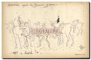 Old Postcard Horse Riding Equestrian Saumur after the Great War