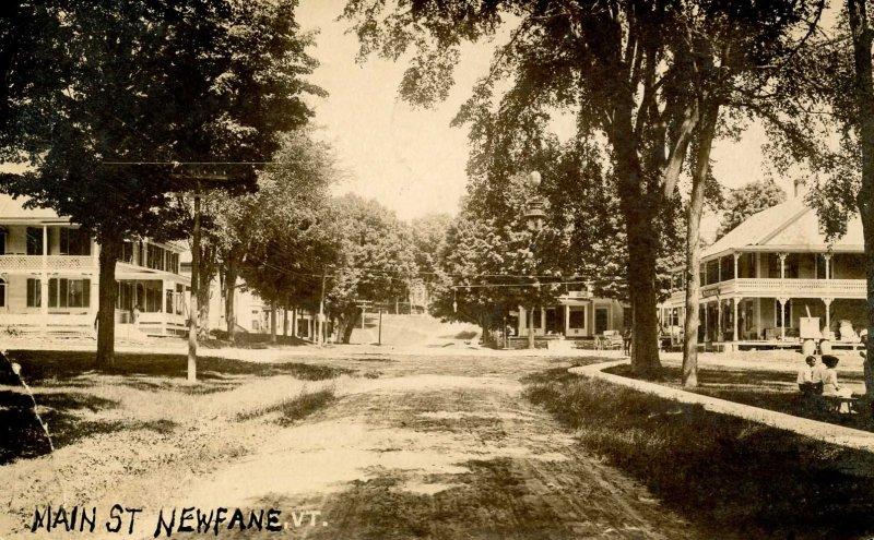VT - Newfane. Main St ca 1920. RPPC. Newfane Inn at Court St, Newfane Store
