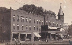 RP: SPRINGFIELD , Vermont, 1909 ; Main Street, Adnabrown Hotel