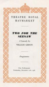 Two For The Seesaw Haymarket Comedy Gerry Jedd Peter Finch Theatre Programme