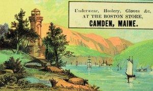 1870's West Point Light House Camden, Maine Lovely Scene Victorian Trade Card D2