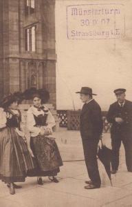 Strassburg 1907 Antique Ladies Fashion Germany German Dress Postcard Postmark