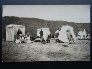 HORNSEA BEACH SCENE Children Families & Bathing Tents c1905 RP Postcard Overton