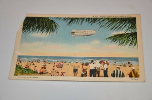 Goodyear Blimp over Miami Beach Florida Thomas R West C T Art-Colortone Linen