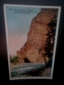 Postcard  Thousand Foot Cliff & Hanging Rock on Cody Road, Yellowstone Park