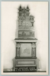 Spillville Iowa~The Apostles Clock~Real Photo Postcard~RPPC